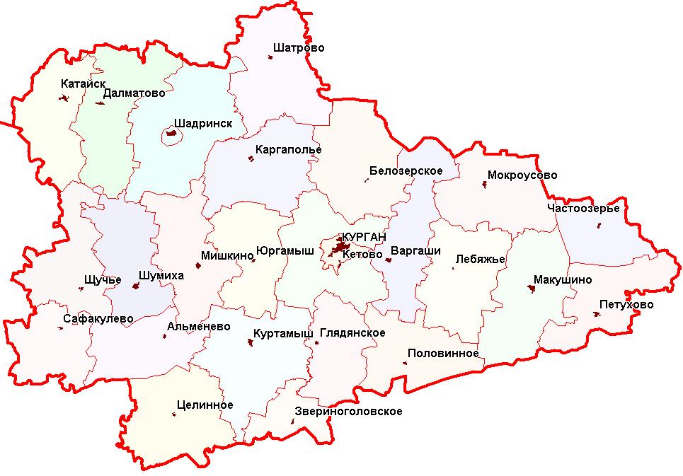 Схема Курганской области